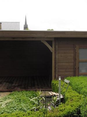 Tuinhuis plat dak in thermohout