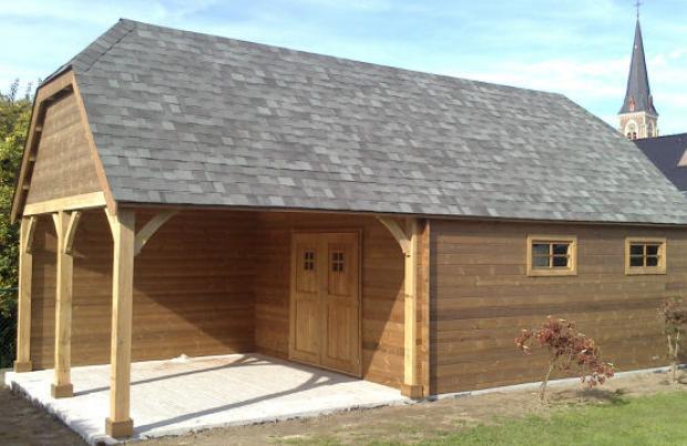 Carport en garage in hout met zadeldak
