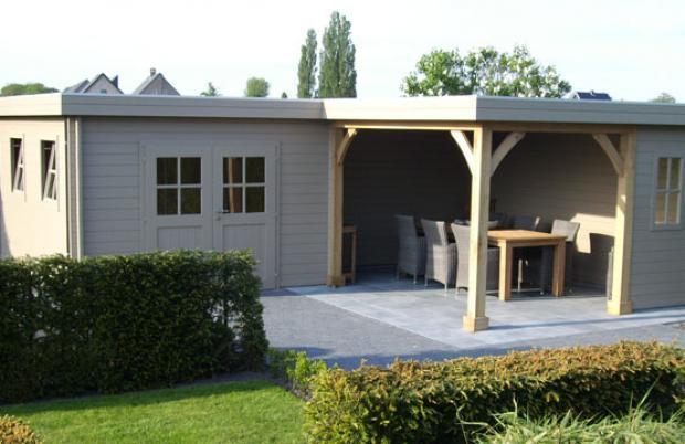 Blokhut met plat dak in hoekmodel Tessenderlo
